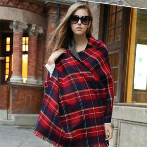 Women England Classic Plaid Wool Shawls Scarves