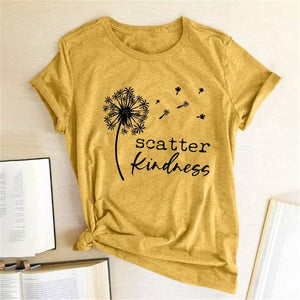 Dandelion Scatter Kindness Printed T-shirts