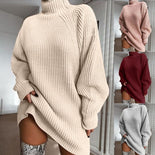 Turtleneck Long Sleeve Sweater Dress