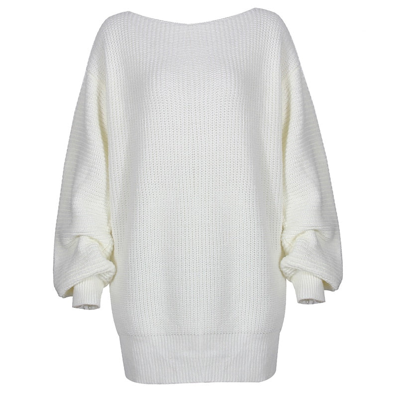Off Shoulder Knitted Short Women's Sweater Dress