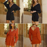 Long Sleeve Elegant Tunic Sweater Dress