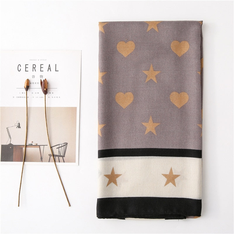 Fashion Plain Star Bow Tie Pattern Viscose Shawl Scarf