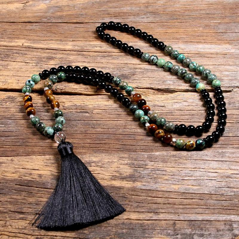 Natural Tiger Eye's Stone 108 Japa Mala Beads Necklaces