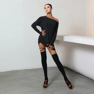 Latin Dance Dresses New Drawstring Black Long Sleeve Loose Dress