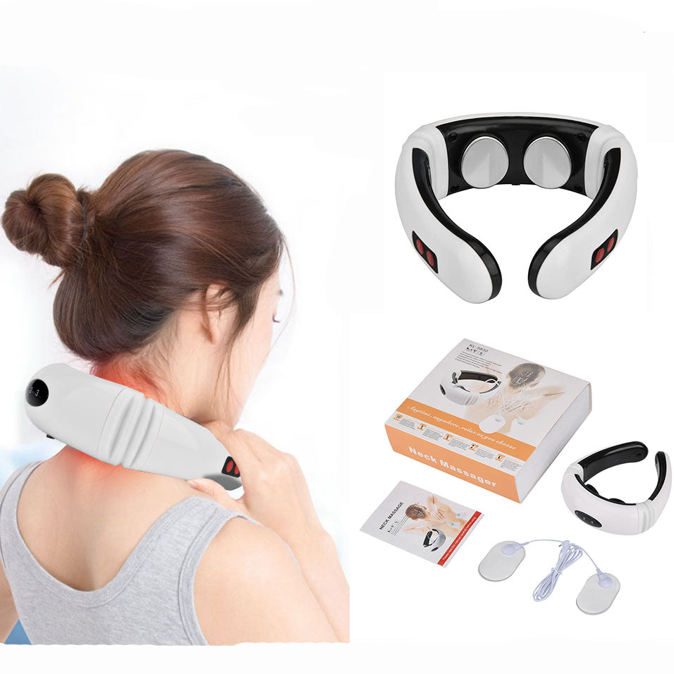 Electric Neck Massager Pulse Back 6 Modes Power Control Far Infrared Heating Pain Relief Cervical Physiotherapy