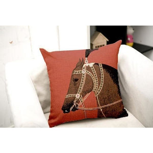 Luxury European Royal Horse Printed Cushion Cover Decorative Pillowcases High Quality Thick Pillow Covers Housse De Coussin