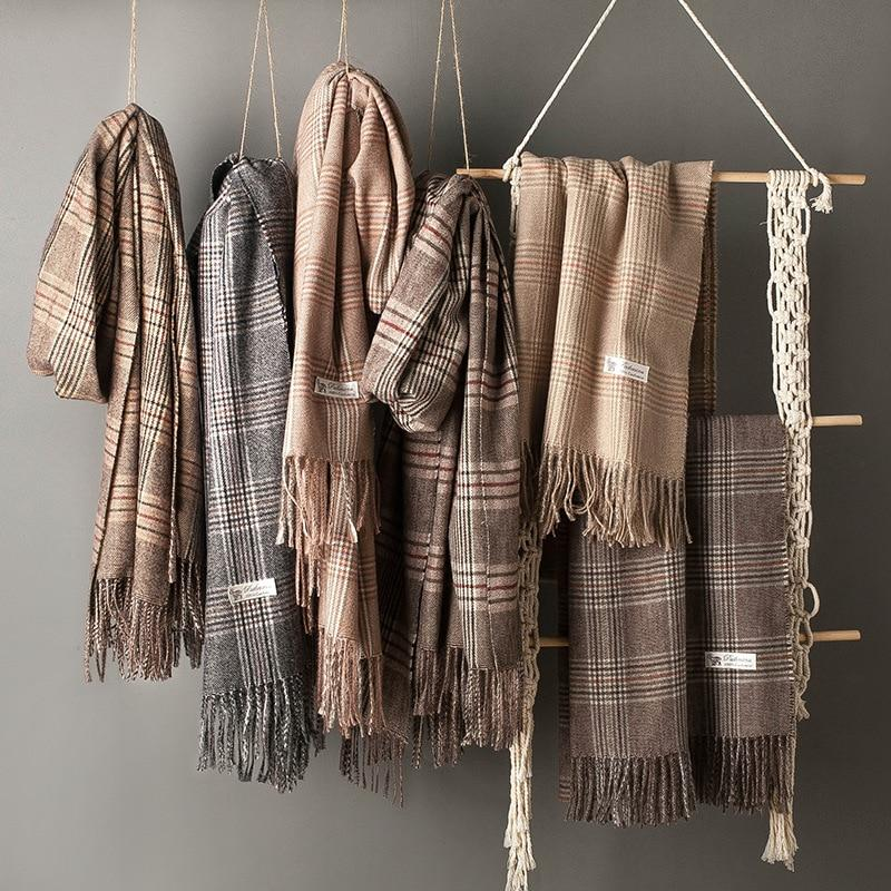 Wool Thickened Bib Fringed Plaid Scarf