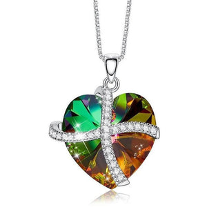 Crystals Rainbow Pave Heart Ribbon  Necklace