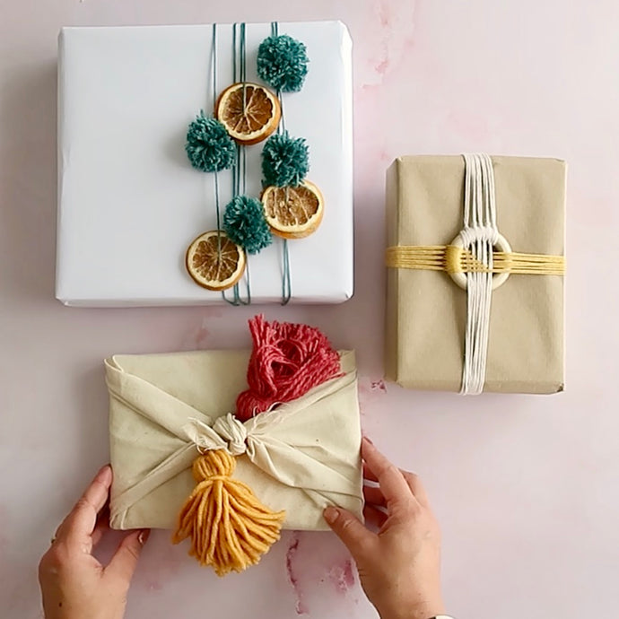 How to Wrap Gifts with Scrap Yarn - 3 Free Tutorials