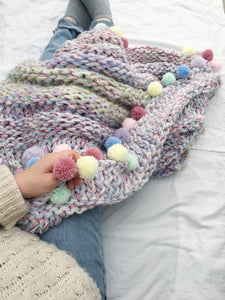 Knit Rainbow Blanket and Cushion Knitting Pattern