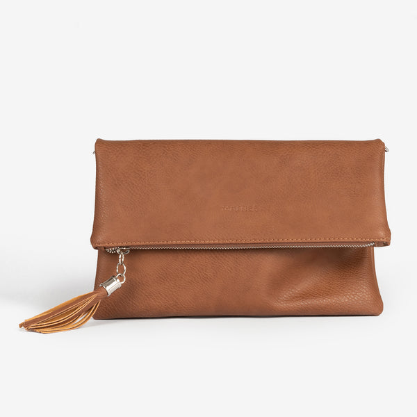 Tan folded handbag, Clutch bags Collection