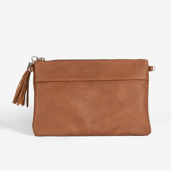 Tan handbag with detachable shoulder strap, Clutch bags collection