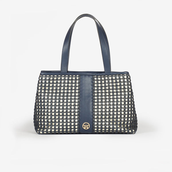 Bolso shopper color azul, Serie Rattan