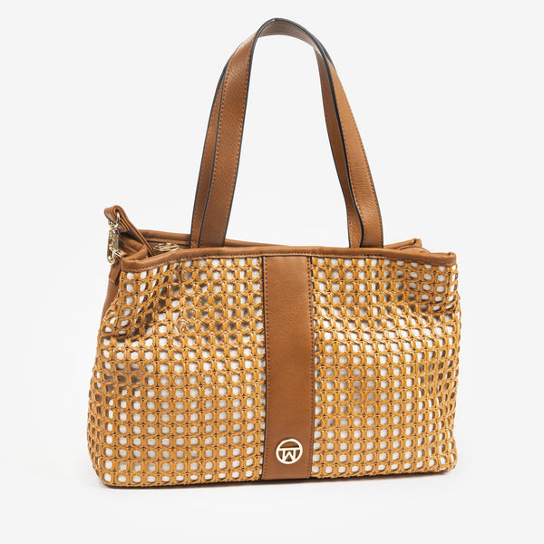 Bolso shopper color cuero, Serie Rattan