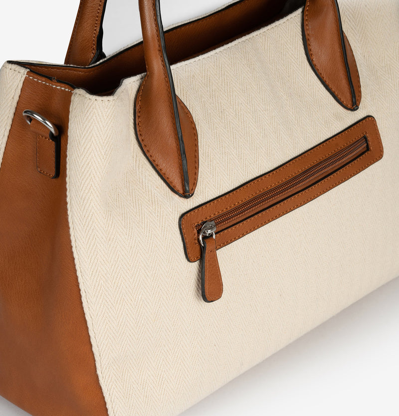 Beig shopper bag, Jacquard Collection