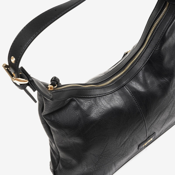 Bolso Hobo color negro, Serie Waves