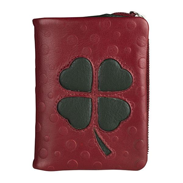 Red leather wallet, Leaf Trebol Collection