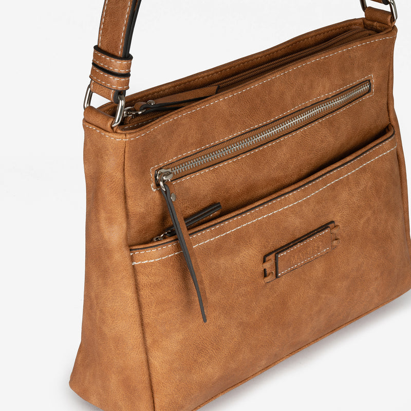 Light tan cross body bag, Classic Collection