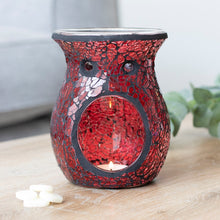 Load image into Gallery viewer, Red Crackle Tea Light Burner