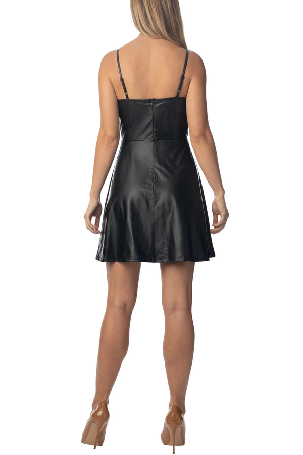 Back Side Of Women's Juniors Notch Neck Cami Skater Dress - Almost Famous Clothing