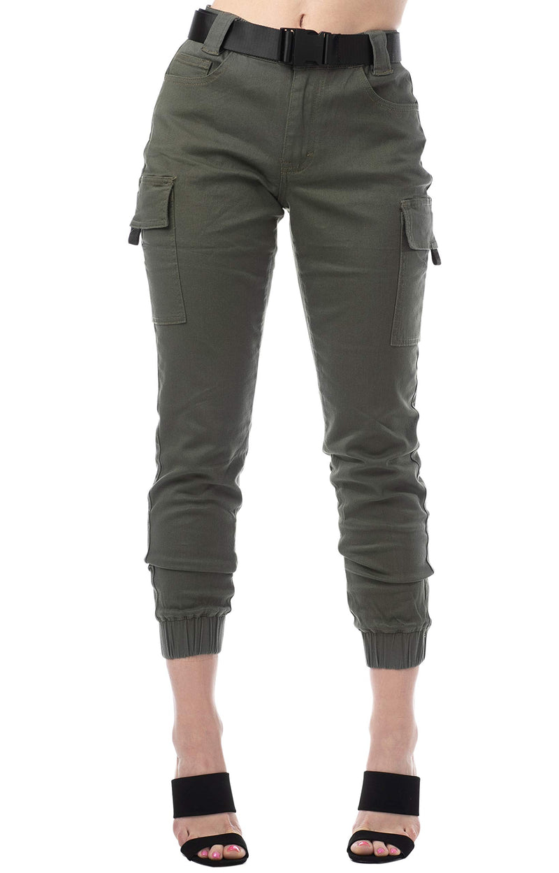 Olive Color Women's Juniors Web Belted Cargo Jogger Pant - Almost Famous Clothing