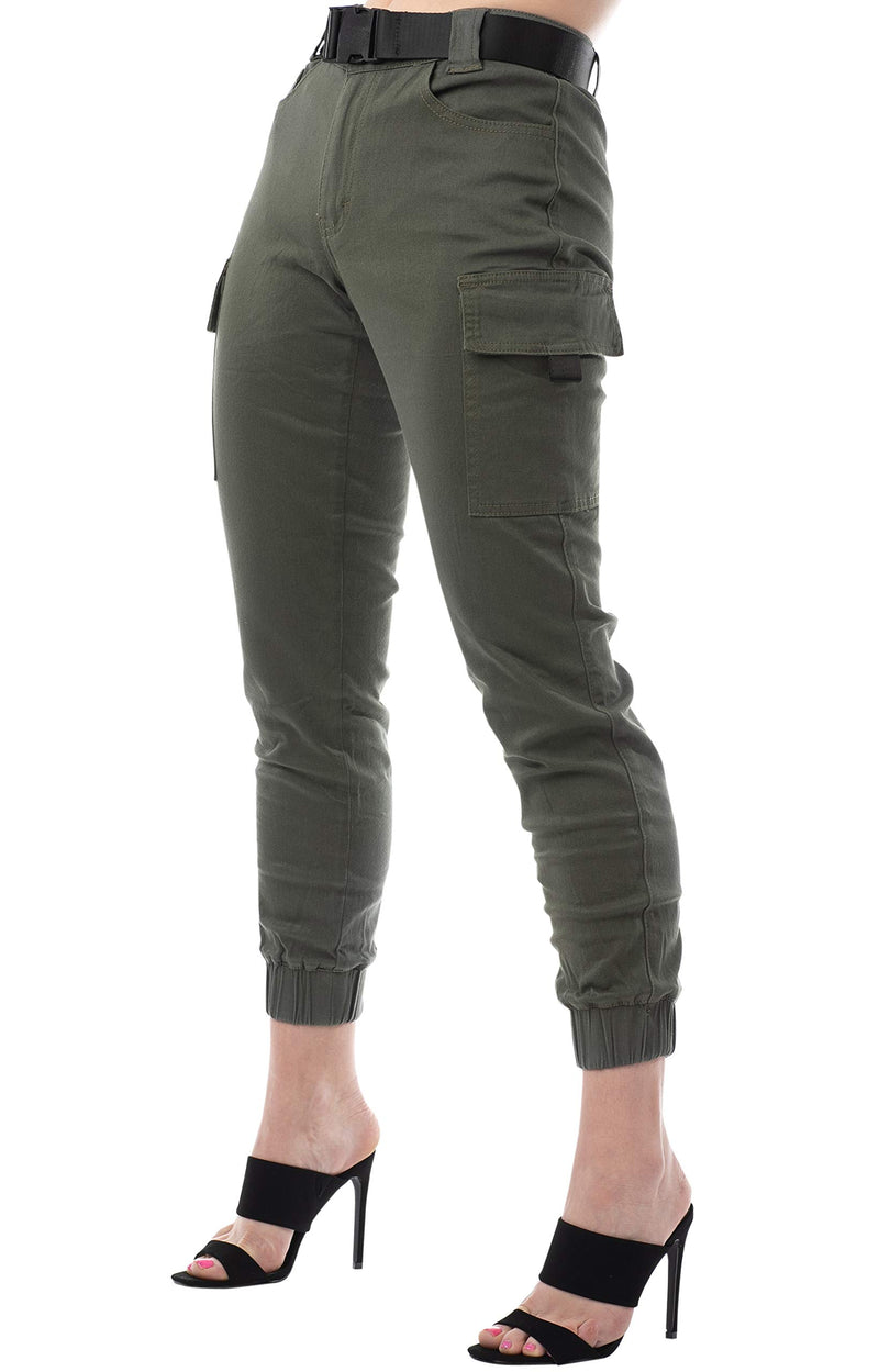 Olive Color Side View Of Women's Juniors Web Belted Cargo Jogger Pant - Almost Famous Clothing