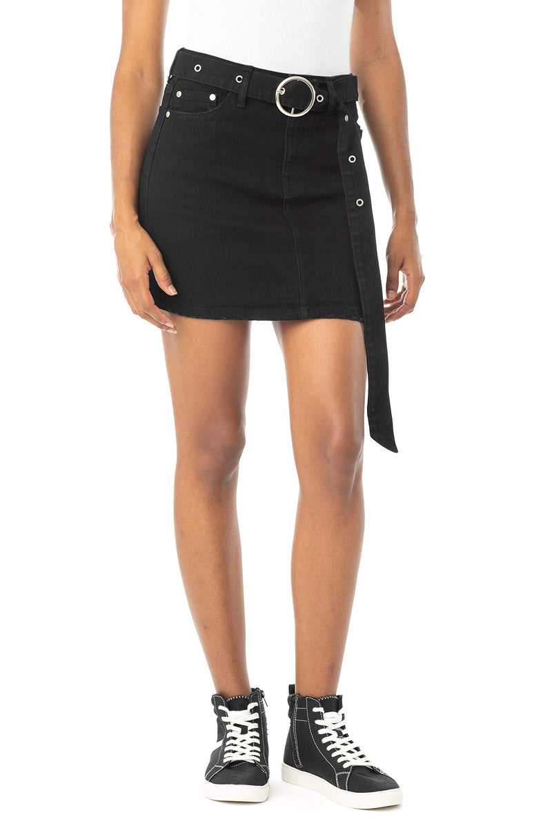 Black Color Women's Juniors Mid Rise Denim Skirt with Grommeted Mega Belt - Almost Famous Clothing