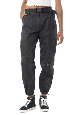 Women's Juniors Nylon High Waist Web Belted Cargo Pant - Almost Famous Clothing