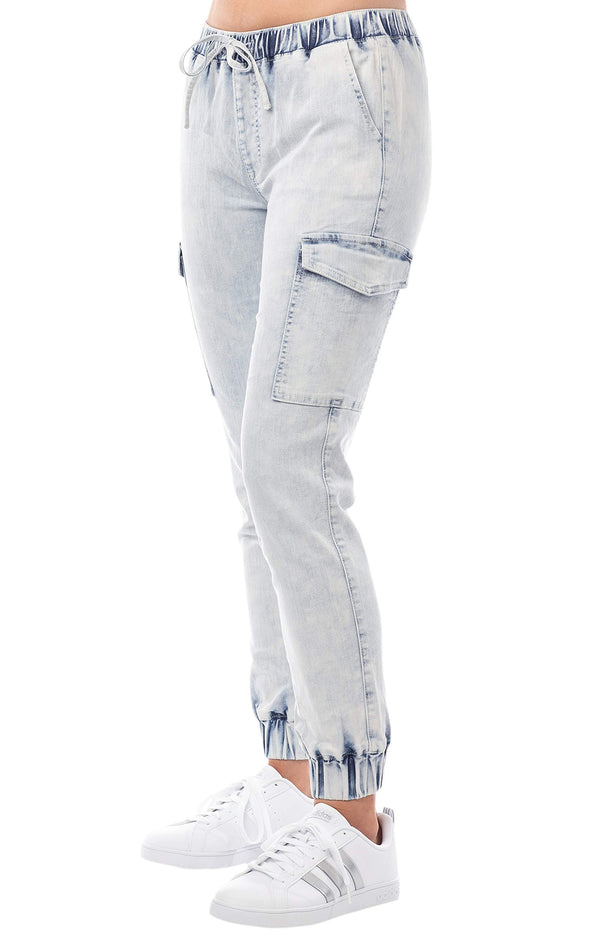 Women's Juniors Cargo Mid-Rise Denim Jogger Pant with Drawstring - Almost Famous Clothing