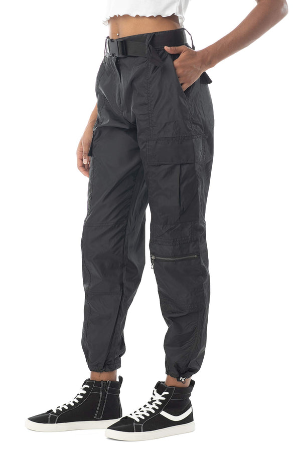 Side View Of Women's Juniors Nylon High Waist Web Belted Cargo Pant - Almost Famous Clothing