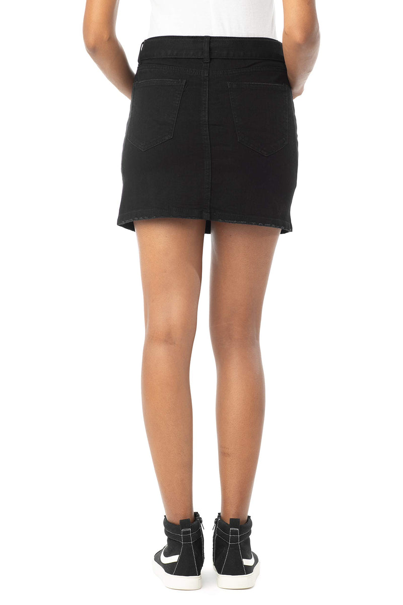 Black Color Back Side of Women's Juniors Mid Rise Denim Skirt with Grommeted Mega Belt - Almost Famous Clothing