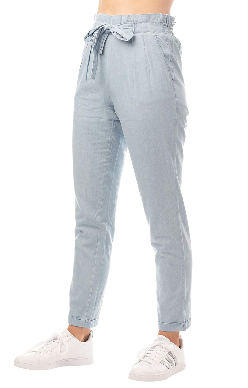 Women's Juniors' Paper Bag Chambray Denim Pants