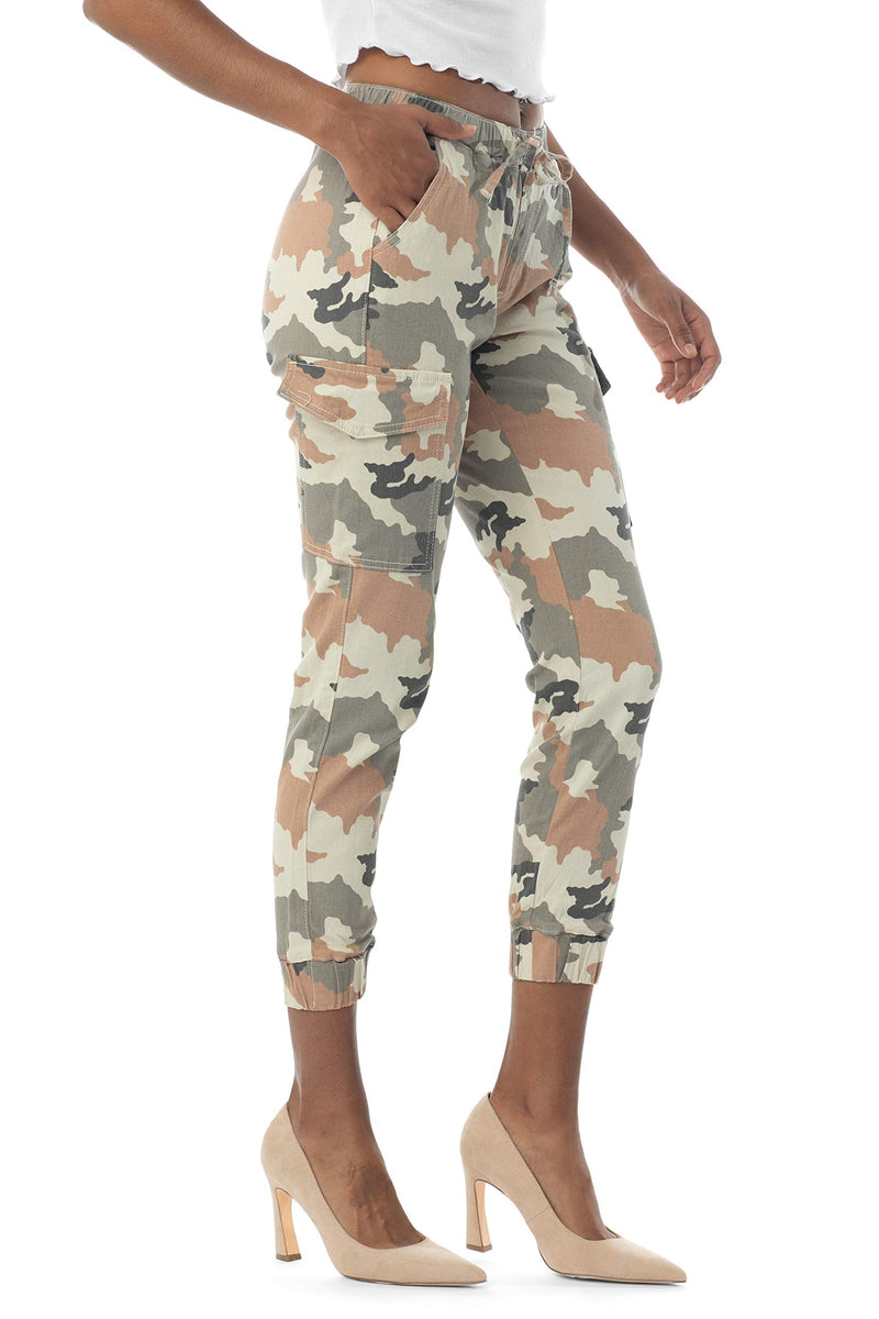 Side view of Women's Juniors Cargo Pocket Jogger Drawstring Pant - Almost Famous Clothing