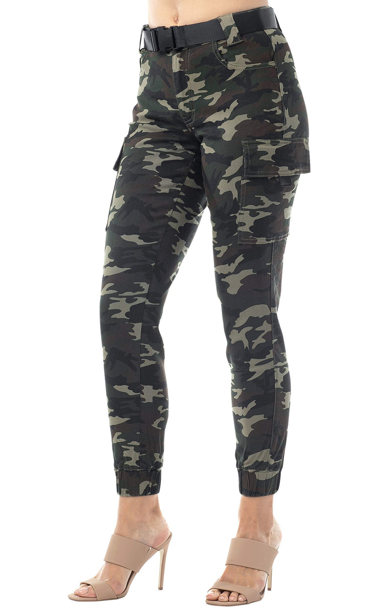 Side View Of Women's Juniors Web Belted Cargo Jogger Pant - Almost Famous Clothing