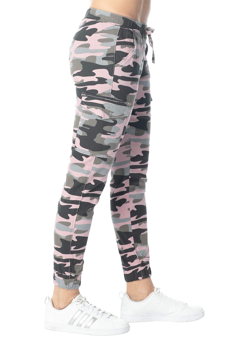 Pink Color Side View Of Women's Juniors Cargo Pocket Jogger Drawstring Pant - Almost Famous Clothing