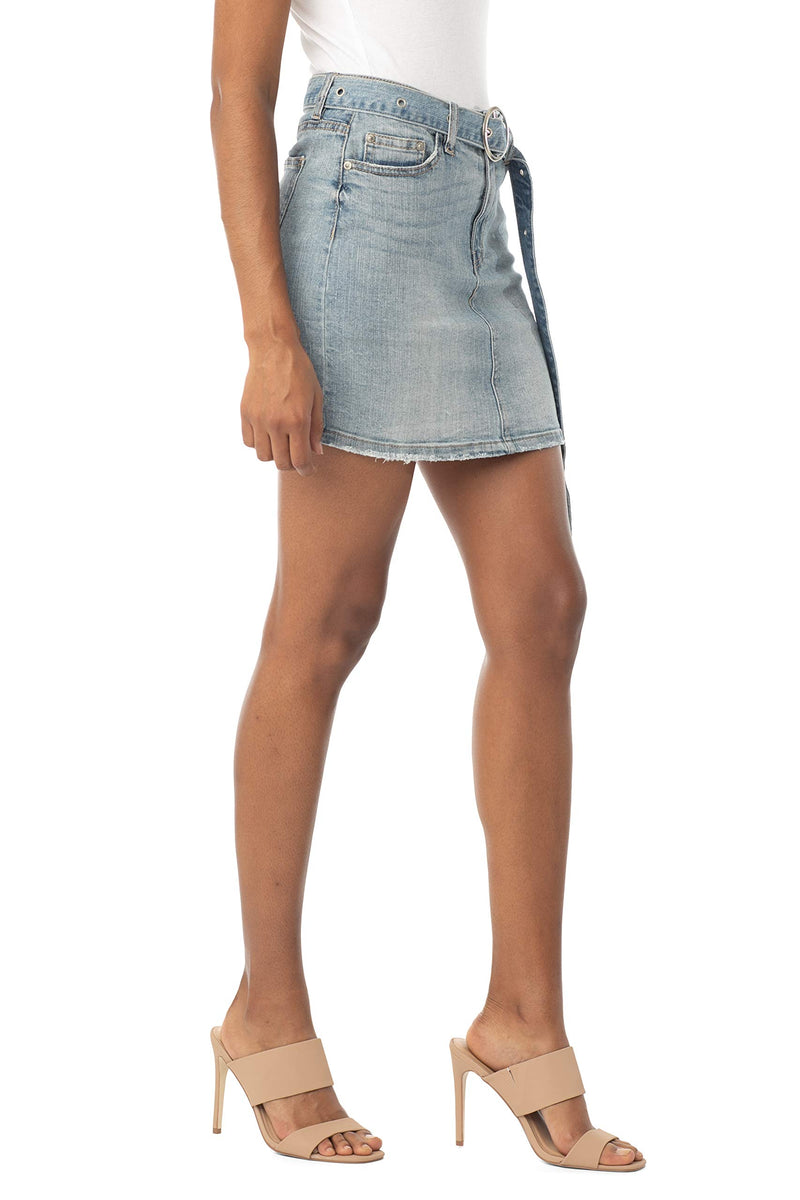 Side View Of Women's Juniors Mid Rise Denim Skirt with Grommeted Mega Belt - Almost Famous Clothing