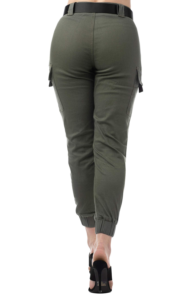 Olive Color Back Side Of Women's Juniors Web Belted Cargo Jogger Pant - Almost Famous Clothing