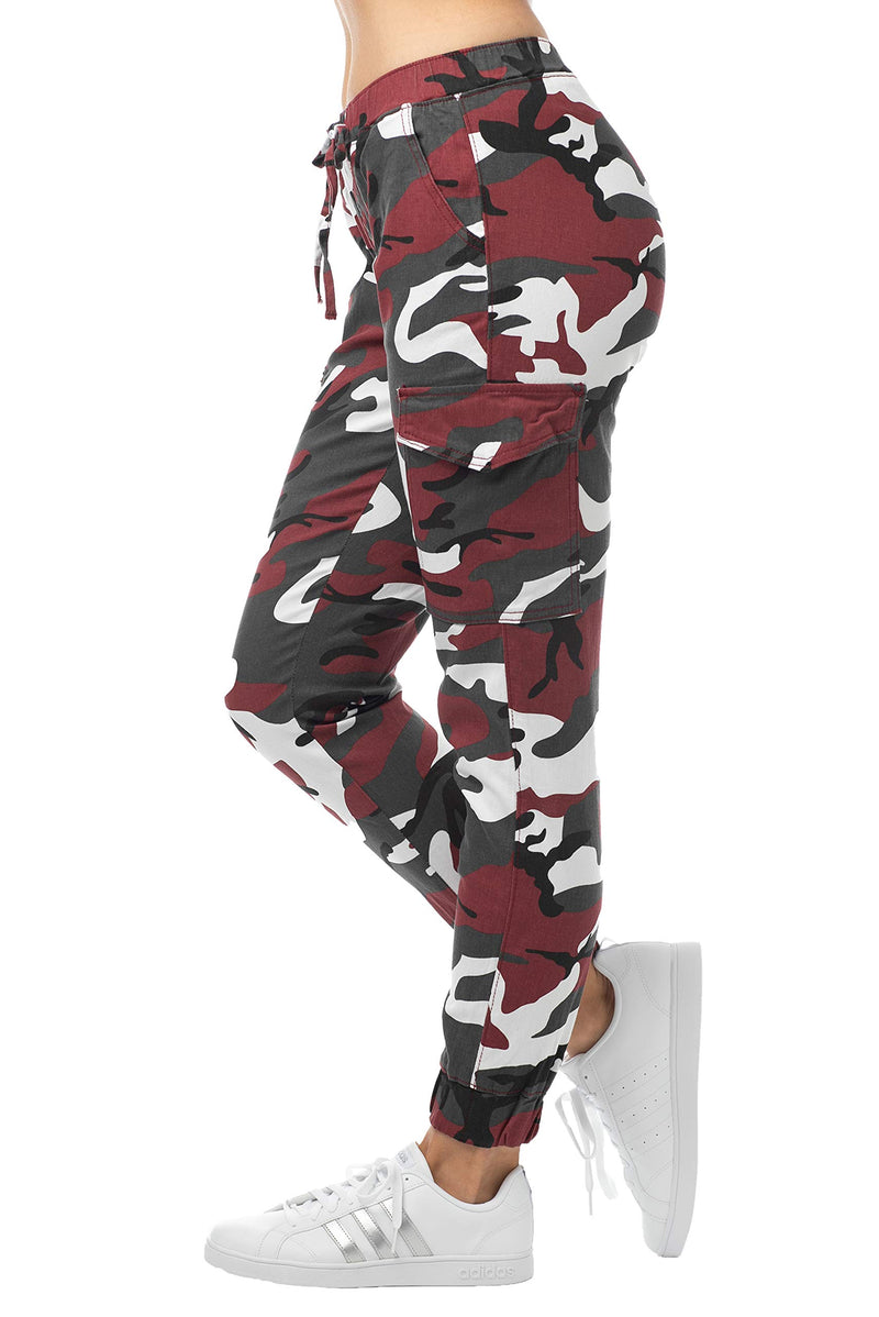 Red Color Side View Of Women's Juniors Cargo Pocket Jogger Drawstring Pant - Almost Famous Clothing