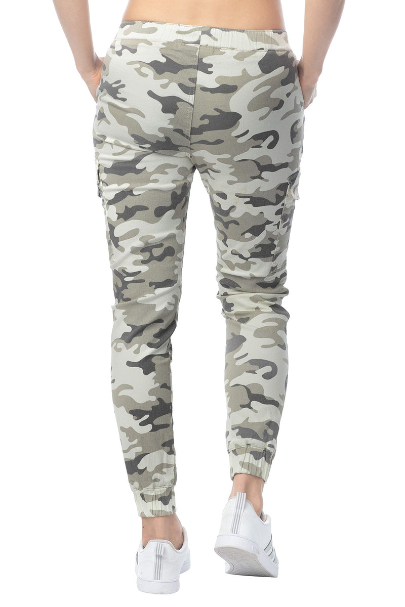 Back side of Women's Juniors Cargo Pocket Jogger Drawstring Pant - Almost Famous Clothing