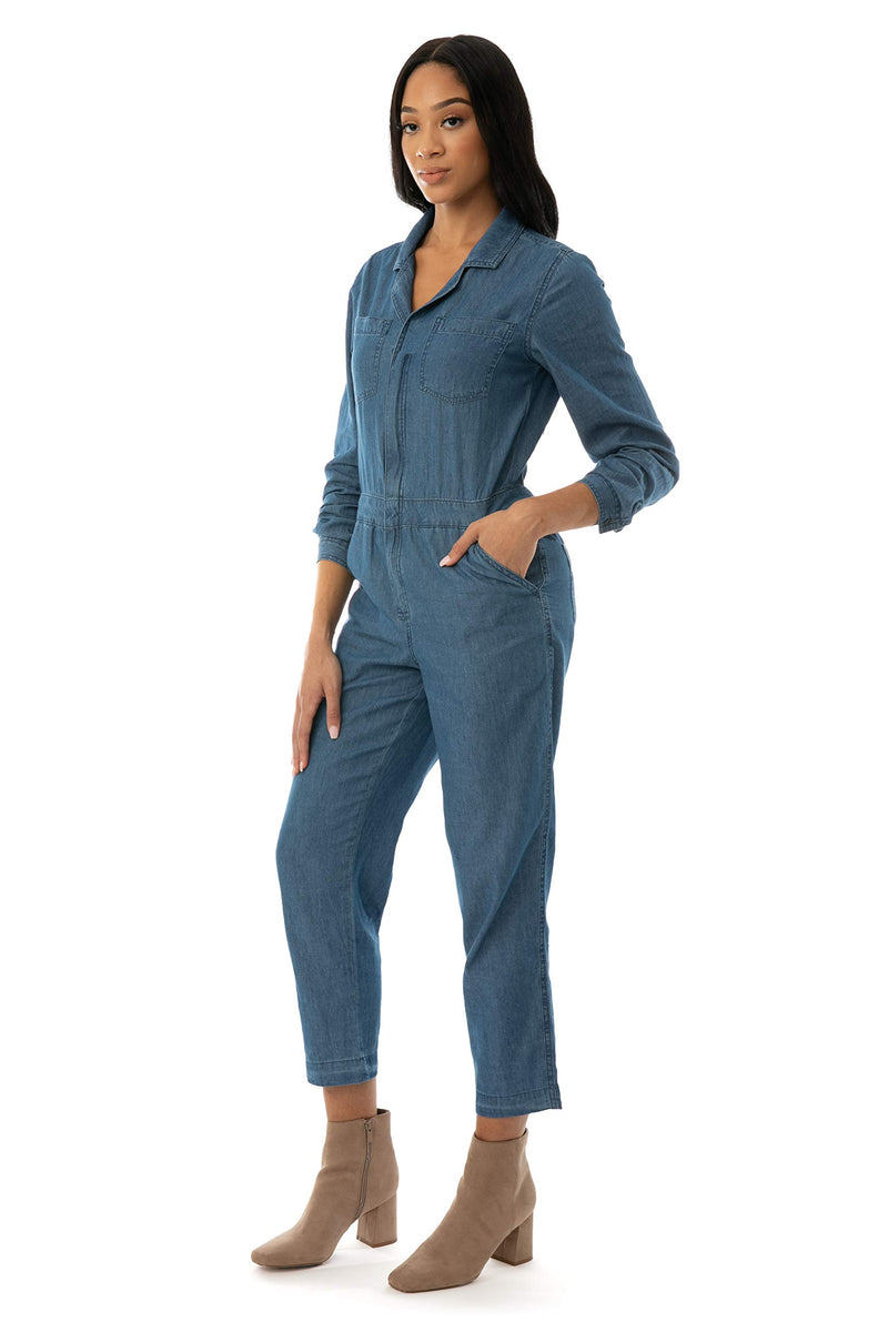 Side View of Women's Juniors Chambray Coverall Jumpsuit - Almost Famous Clothing