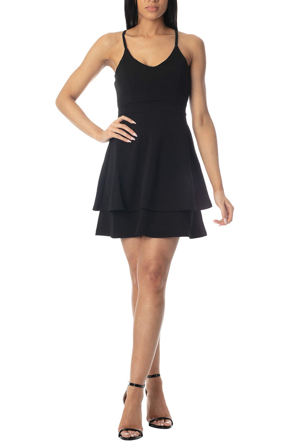 Women's Juniors Double Layer Skater Dress - Almost Famous Clothing