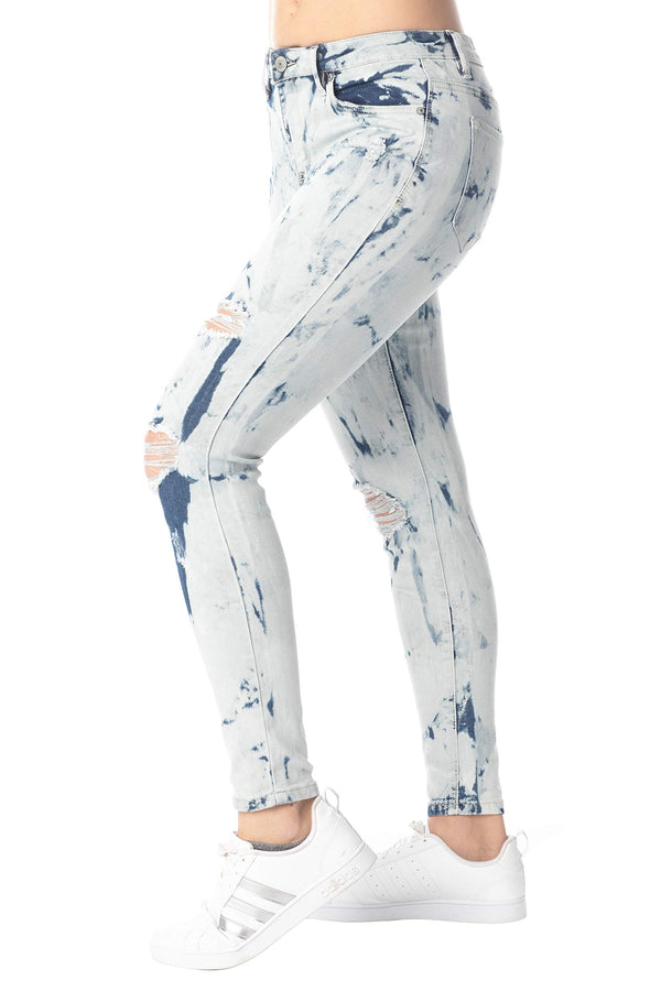Side View Of Women's Juniors Destructed High-Rise Skinny Jeans - Almost Famous Clothing