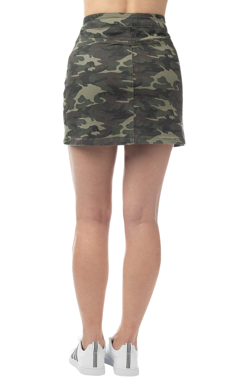 Military Color Back Side Of Women's Juniors Button Front A-line Mini Skirt - Almost Famous Clothing