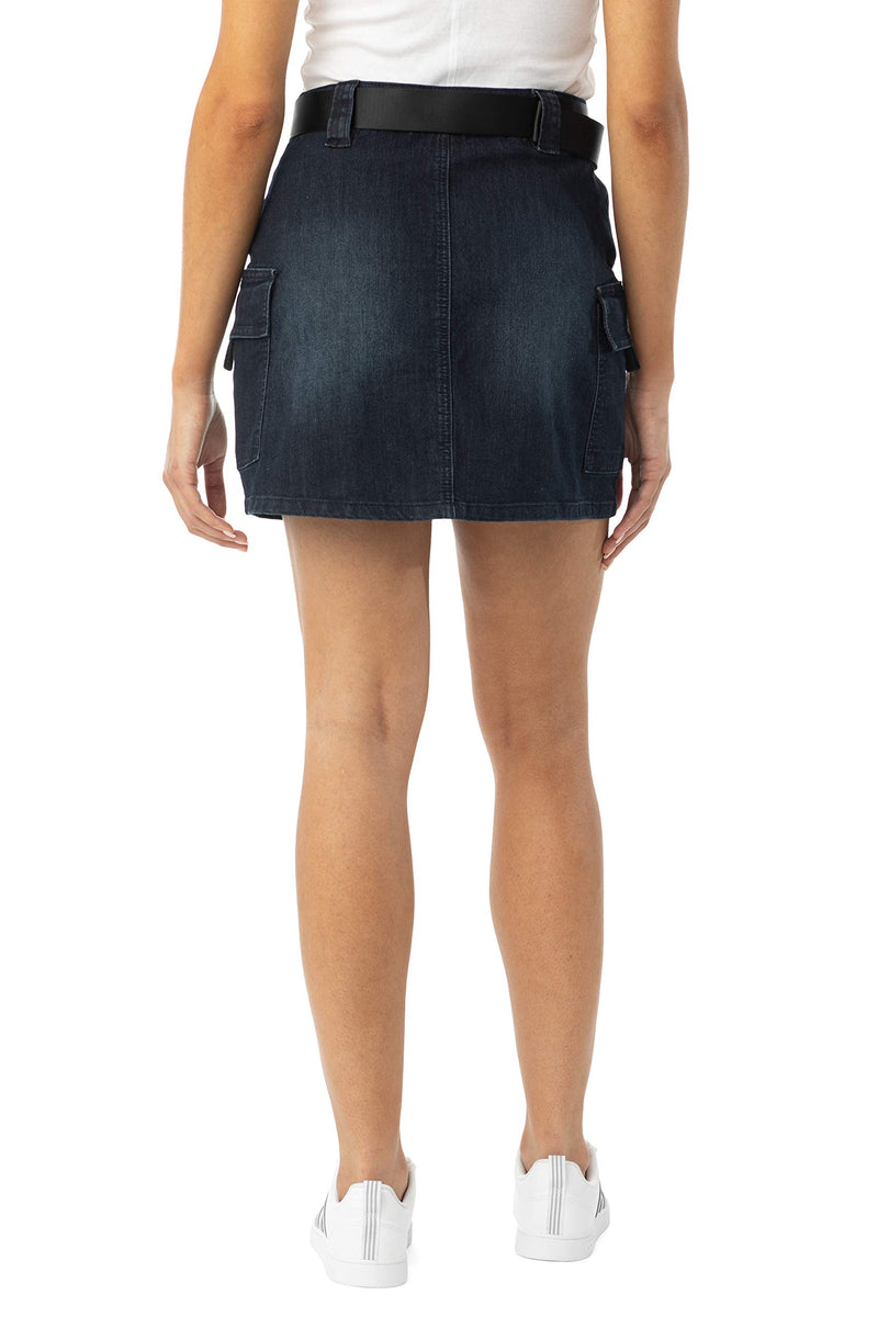 Women's Juniors Double Cargo Pocket Denim Mini Skirt