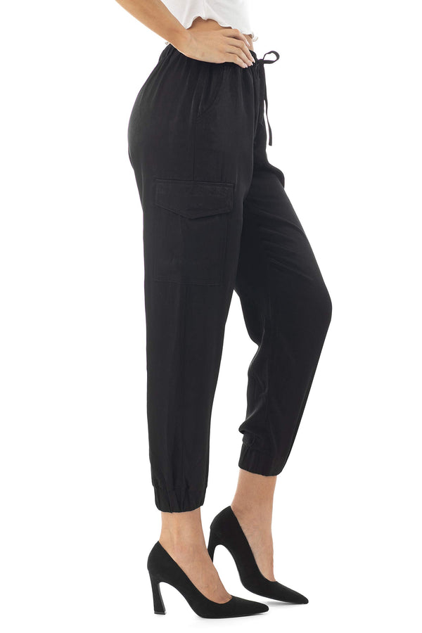 Side View Of Women's Juniors Satin Utility Cargo Jogger - Almost Famous Clothing