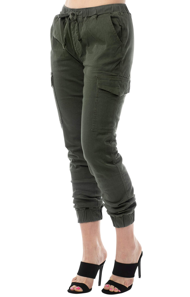 Olive Color Side View Of Women's Juniors Cargo Pocket Jogger Drawstring Pant - Almost Famous Clothing
