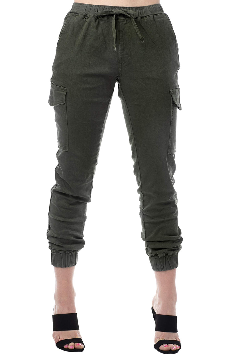 Olive Color Women's Juniors Cargo Pocket Jogger Drawstring Pant - Almost Famous Clothing