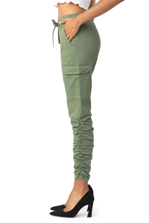 Side View Of Women's Juniors High Rise Ruched Cargo Pull On Jean - Almost Famous Clothing