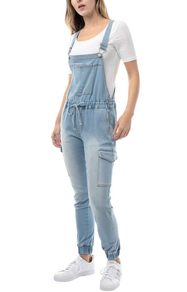 Light wash side view of Women's Juniors Cargo Jogger Overall with Drawstring - Almost Famous Clothing