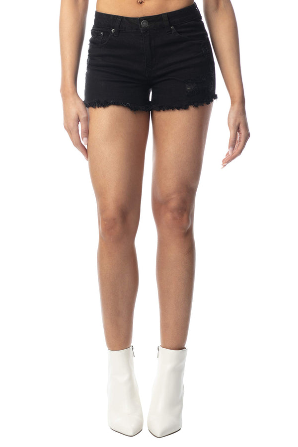 Black Color Women's Juniors Mid-Rise Frayed Denim Short - Almost Famous Clothing